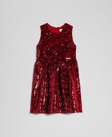 Abito in velluto con paillettes Rosso Ruby Wine Bambina 192GB2090-01