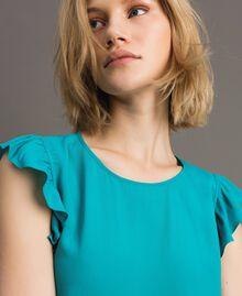 Блуза из смесового шелка с оборками Синие Квадраты женщина 191TT207A-01