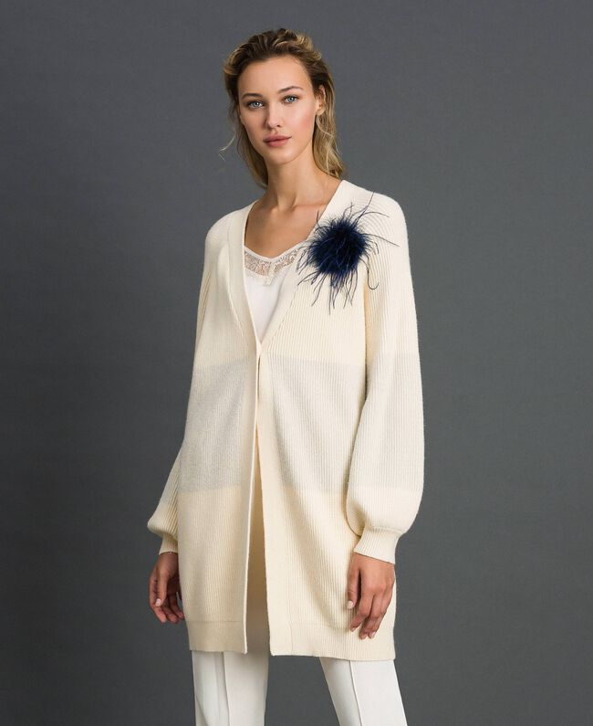 """Maxi cardigan with lurex band and brooch """"Creamy"""" White Striped / Silver Woman 192ST3081-01"""