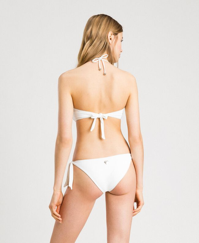 Bandeau bikini top with embroideries and rhinestones Ivory Woman 191LMMR11-03