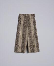 Animal print cropped trousers Camel Snake Jacquard Woman PA828P-0S