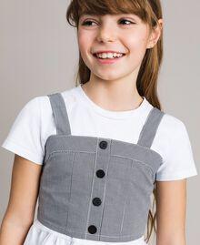 T-Shirt aus Jerseystoff mit Gingham-Top Zweifarbig Optisch Weiß / Gingham Kind 191GJ2730-04