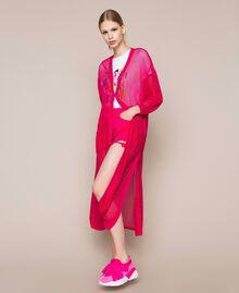 Maxi cardigan en maille filet Rose Sauvage Femme 201MT3011-02