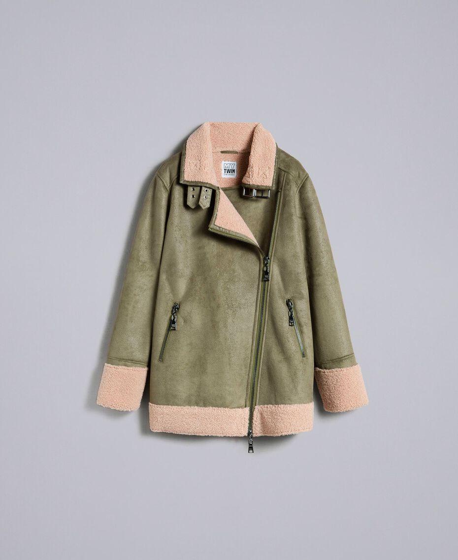 "Faux shearling jacket Bicolour Alpine Green / ""Nude"" Pink Woman JA82G1-0S"