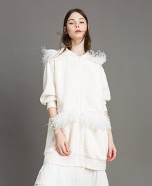 """Long scuba bomber with feathers """"Silk"""" White Woman 191TP2068-02"""