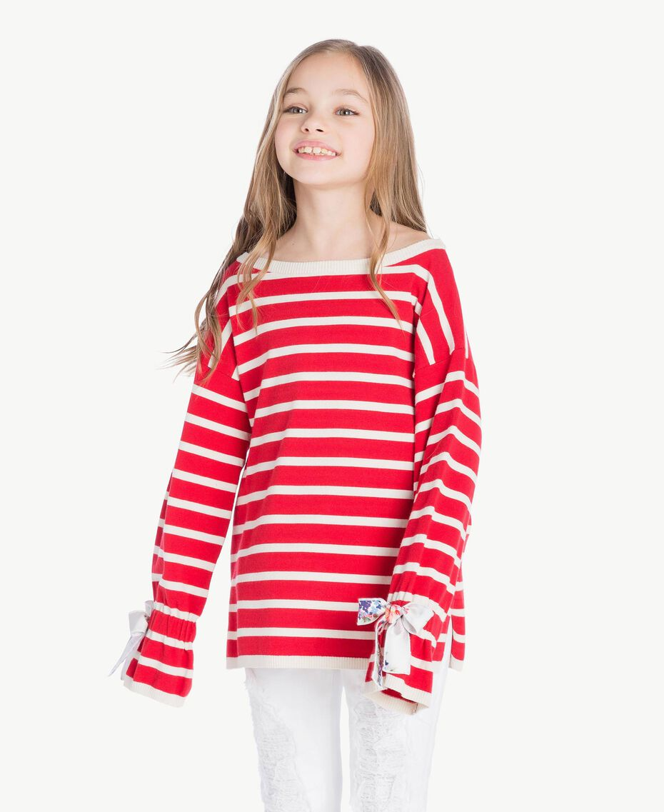 Striped maxi pullover Pomegranate Red / Chantilly Stripes / Flower Print Child GS83BA-02
