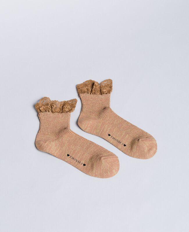 Socken aus Lurexgarn mit Spitze Cookie Beige Frau OA8T3L-01