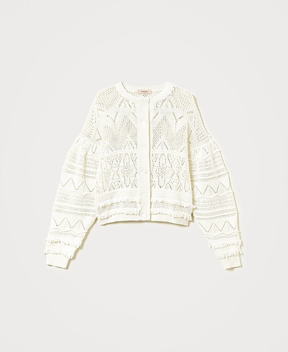 Crochet cardigan with fringes White Snow Woman 211TT3260-0S