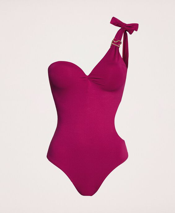 Logo one-shoulder one-piece swimsuit