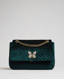 Quilted velvet shoulder bag Dark Green Woman 192TA7090-03