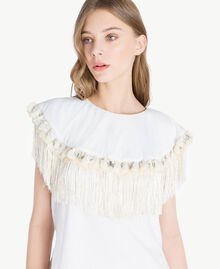 Embroidered T-shirt White Woman TS829P-04