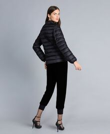 Short shiny nylon padded jacket with ruches Black Woman PA82GS-03