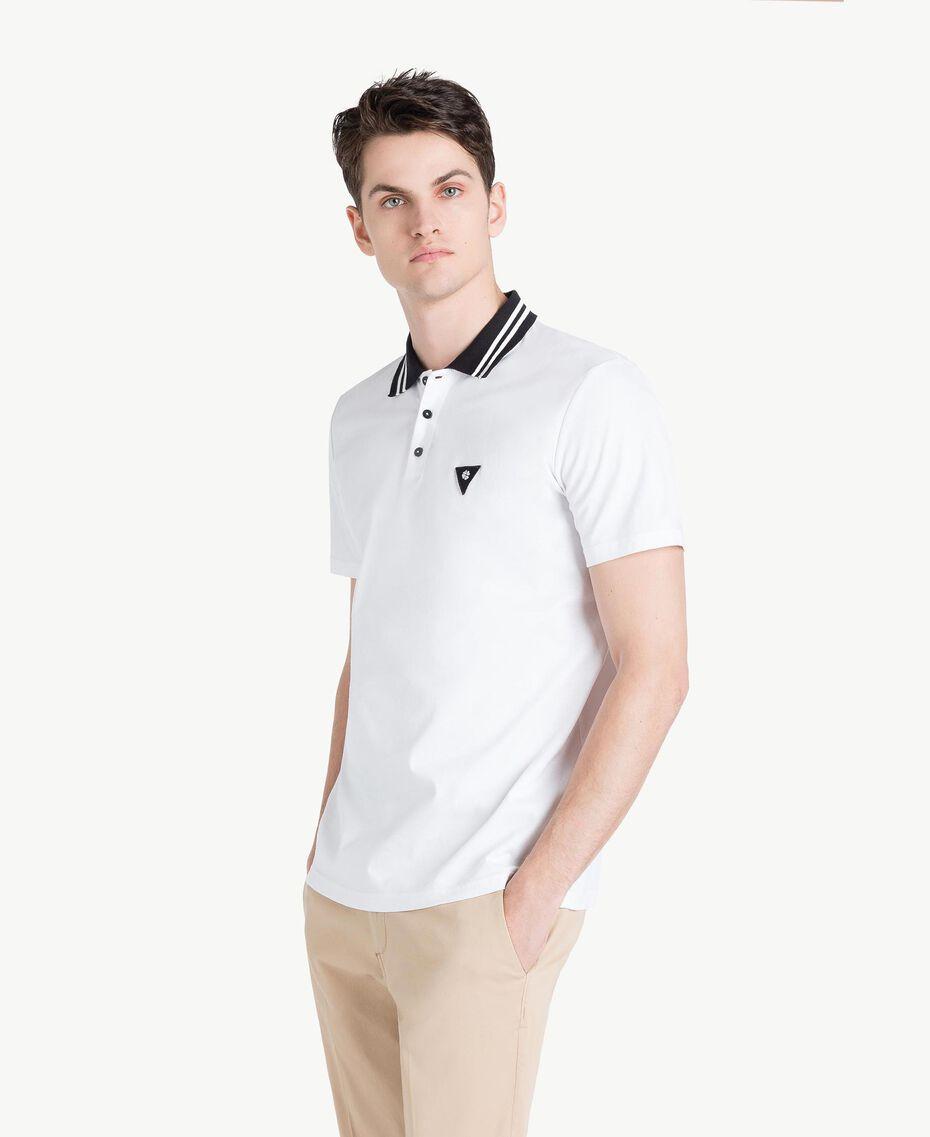 Poloshirt aus Jersey Mattweiß Mann US8221-02