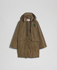 """Taffeta padded parka coat """"Military"""" Green with Gold Sequins Woman 192TP2490-0S"""