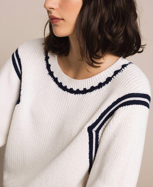 "Boxy jumper with crochet embroidery Two-tone Vanilla / ""Indigo"" Blue Woman 201MP3040-04"
