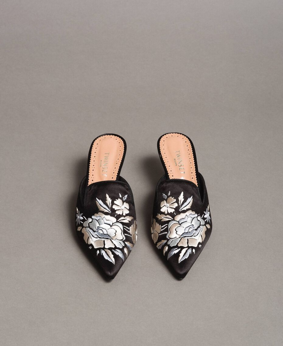 Embroidered satin mules Black Woman 191TCT016-03