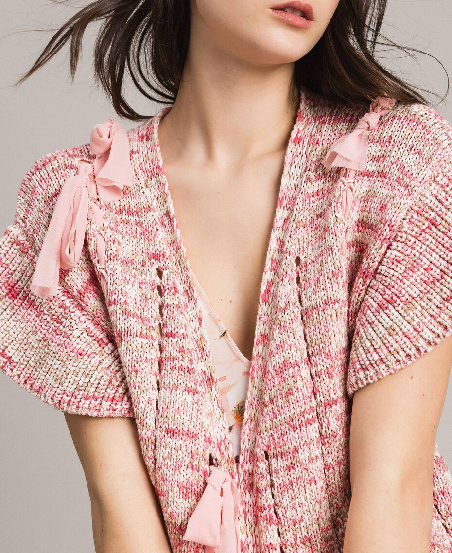 Gilet long avec rubans Multicolore Motif Rose Femme 191TP3282-02