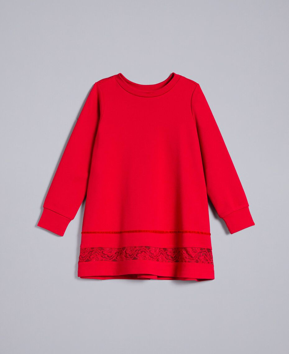 Cotton blouse with lace Poppy Red Child FA821W-01