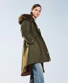 Parka avec capuche et fausse fourrure Vert Olive Foncé Femme 202MP2020-01