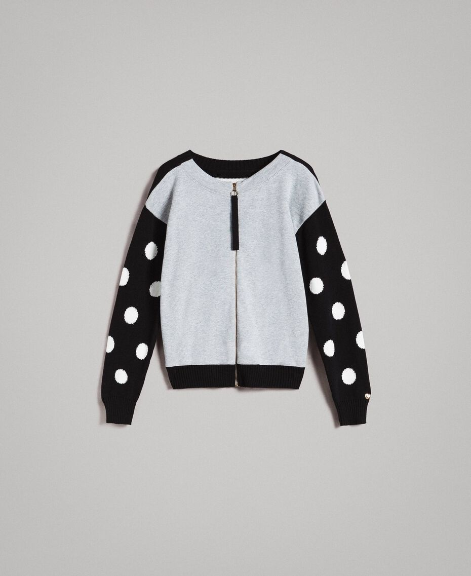 Plush cardigan-top with polka dots and stripes Multicolour Light Melange Grey / Black / White Woman 191MP3120-0S