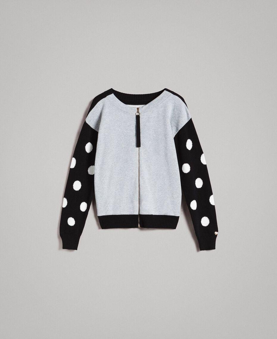 Cardigan-Pullover aus Sweatstoff mit Tupfen und Streifen Multicolour Hell Melange Grau / Schwarz / Weiß Frau 191MP3120-0S