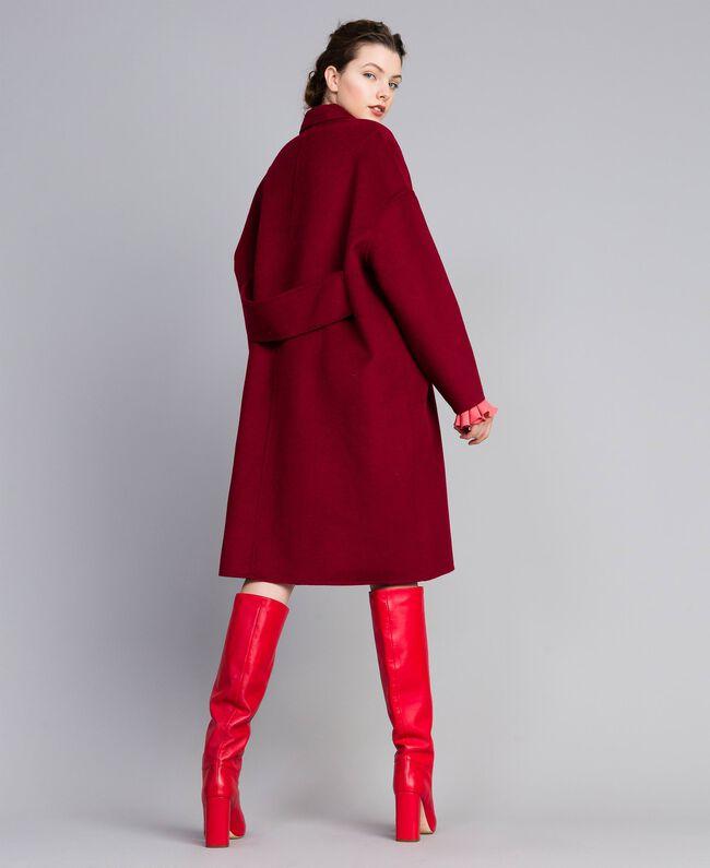 Cappotto lungo in panno double Bordeaux Donna PA8262-01