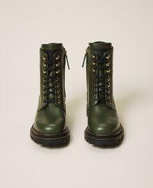 Schnürstiefelette aus Leder Dark Olive Green Frau 202TCP182-05