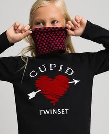 T-shirt with butterfly print and collar Black / Tiny Heart Print Child 192GJ2532-05