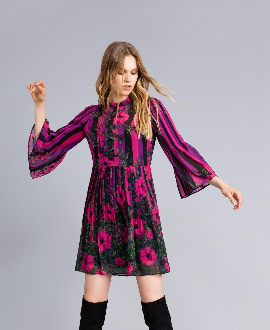 """Kleid aus Chiffon mit Blumenprint Print """"Flower&Stripes"""" Frau TA829Q-01"""