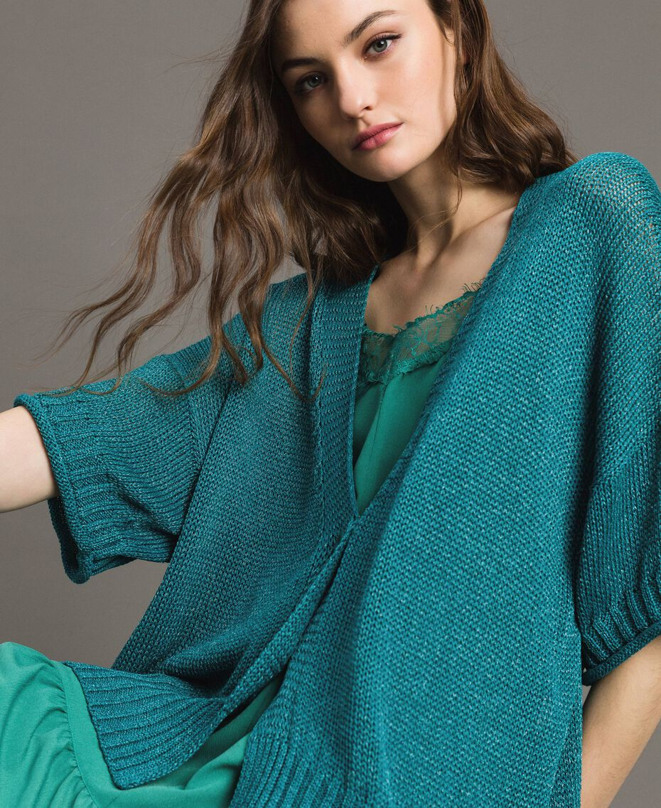 V-neck maxi cardigan Tile Blue Woman 191TT3141-05