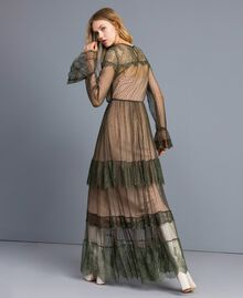 Tulle plumetis and lace long dress Forest Green Woman TA82XA-03