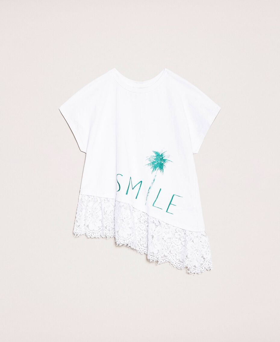 """Asymmetric T-shirt with lace Smile Print / """"Papers"""" White Child 201GJ2318-0S"""