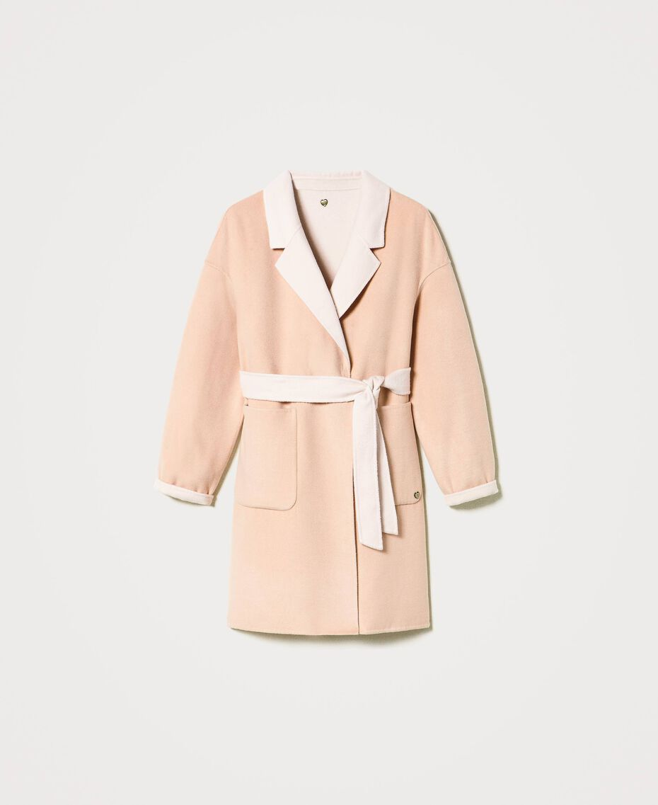 """Double wool cloth reversible coat Two-tone """"Nude"""" Pink /""""Blush"""" Pink Woman 202MP211A-0S"""