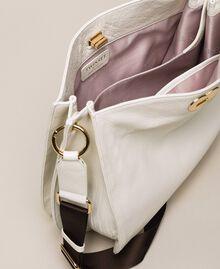 Hobo-Bag aus Leder mit Herz Weiß Schnee Frau 201TA7050-04