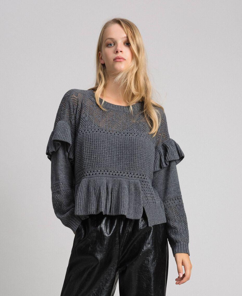 Pull ajouré en laine et cachemire Gris Mélangé Femme 192TP3201-02