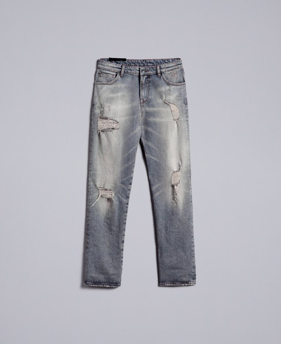 Vintage-inspired jeans Grey Denim Woman JA82YB-0S