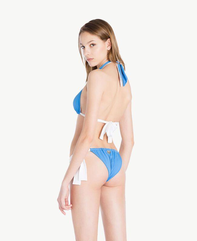 Tanga de bain nœuds Bicolore Bleu «Lagon» / Blanc Optique Femme MS8F88-04