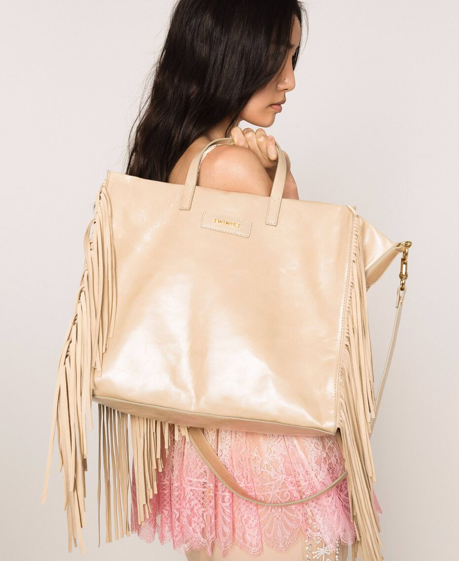 Large leather shopper with fringes Nougat Beige Woman 201TO8140-0S