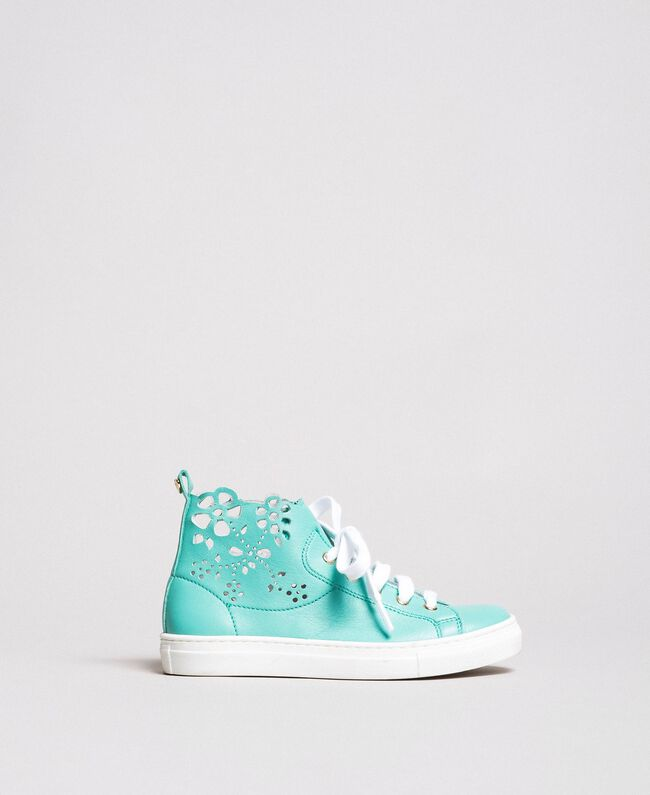 "Nappa sneakers with perforated detail ""Island Paradise"" Light Blue Child 191GCJ172-01"