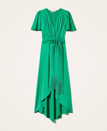 Long satin dress with draping Python Woman 202TP2620-0S