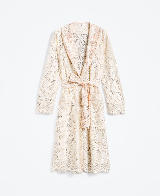 Robe de chambre longue en dentelle Blanc Femme IA8CQQ-01