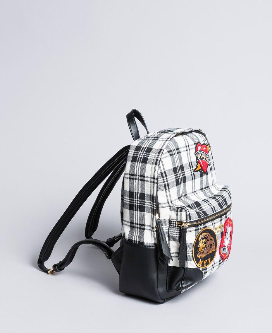 Sac à dos en tartan et similicuir Imprimé Tartan Blanc / Noir Optique Femme RA8TBB-02