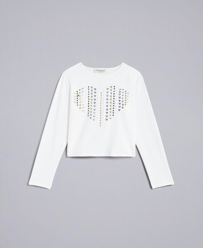 T-shirt en coton avec cœur Off White Enfant GA82FV-01