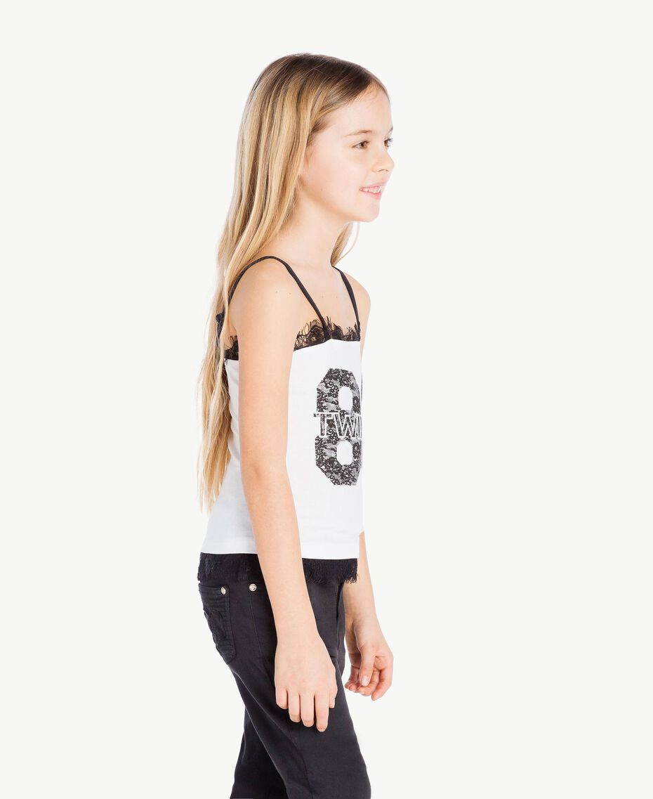 "Printed top Two-tone ""Papyrus"" White / Black Child GS82XB-03"