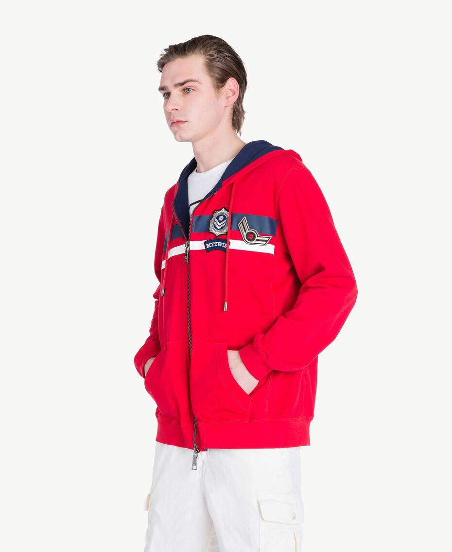 "Striped sweatshirt ""Geranium"" Red Man US821Q-02"