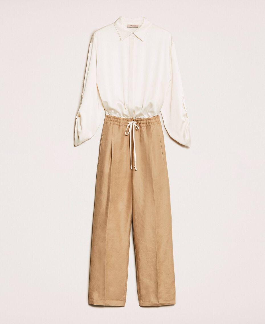 """Linen blend jumpsuit """"Dune"""" Beige Woman 201TP2253-0S"""