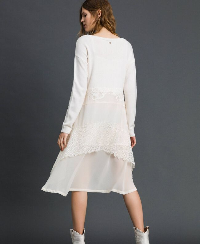 Knitted dress with georgette and lace White Snow Woman 192TT3081-03