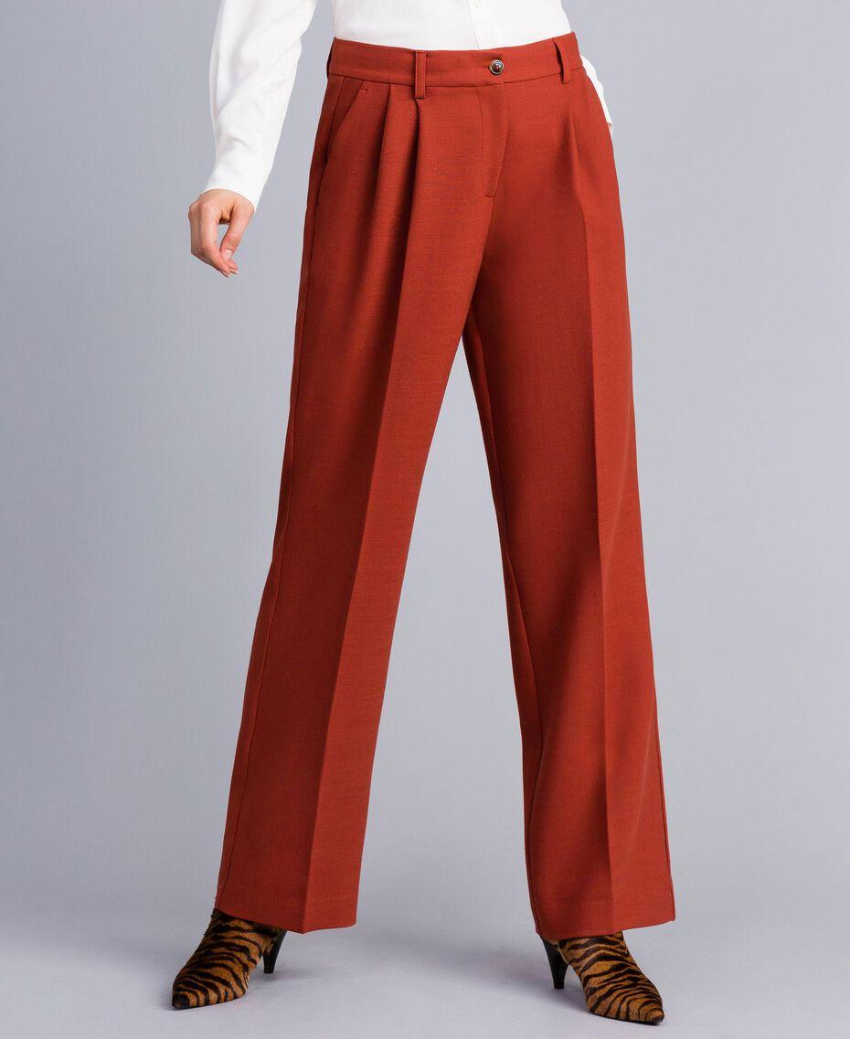 Pantalon palazzo en laine bi-stretch Brûlé Femme TA8272-01