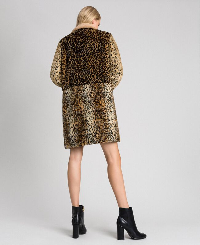 Faux fur animal print coat Animal Print Patch Woman 192TT2250-03
