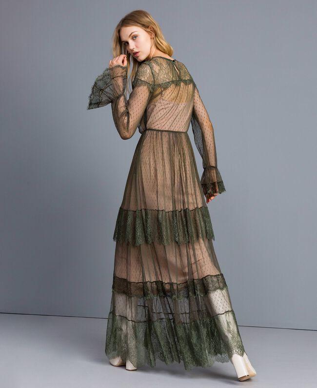 Robe longue en tulle plumetis et dentelle Vert Forêt Femme TA82XA-03